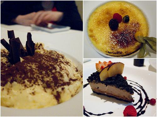 tiramisu, crème brûlée, chocolate pecan mud pie