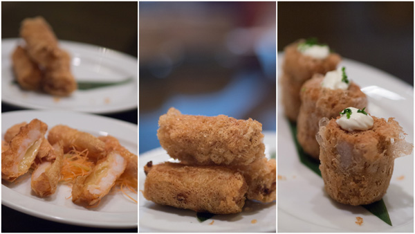 crispy bean curd with prawn & cheese, yum puffs with beef bacon & chives, crispy salmon & cheese roulade