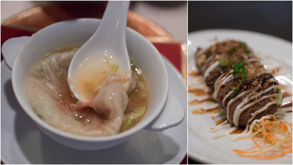 shanghai dumpling with crab meat & broth, beef patties with leeks