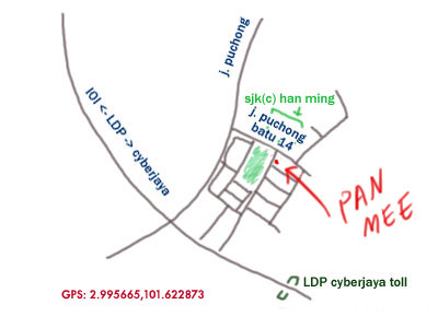 map to puchong pan mee