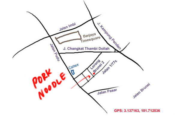 map to Seremban style pork ball noodle at Pudu