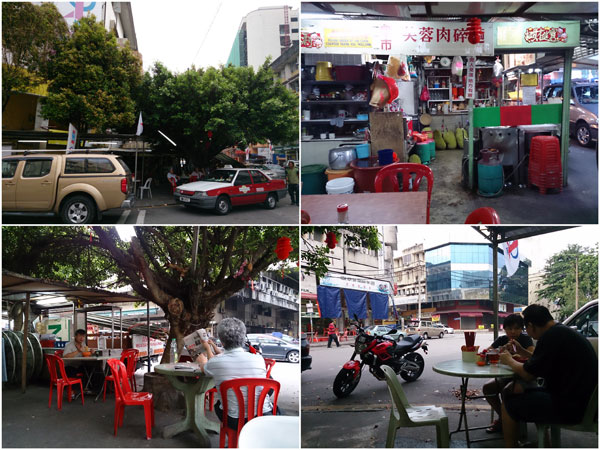 the pork ball noodle stall is at the corner of Lorong Brunei 2 and Jalan 1/77c