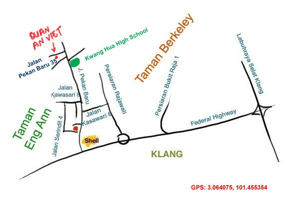 map to Quan An Viet restaurant, Klang