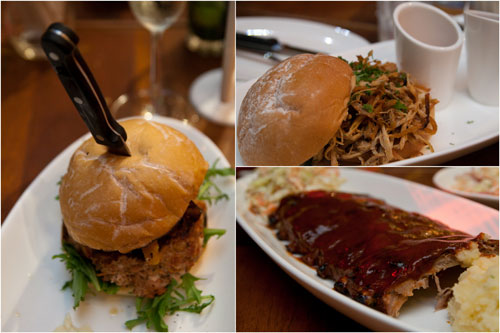 pork burger, pulled pork burger, and hot & spicy pork ribs