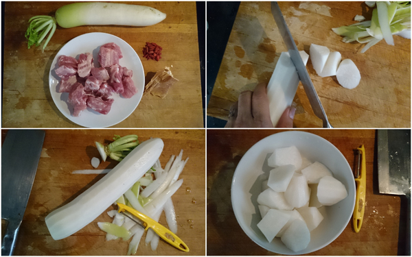 ingredients - radish, pork ribs, dried cuttle fish, wolf berries