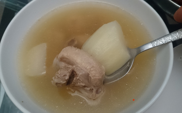 simple homemade radish soup with pork ribs