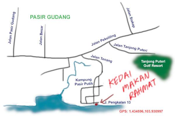 map to Kedai Makan Rahmat at Pasir Gudang