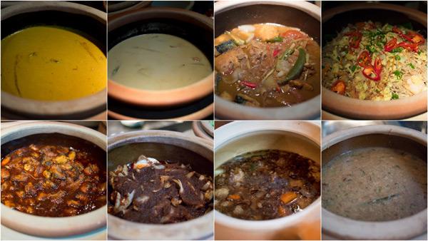 daging masak cili padi, labu masak lemak, ikan tenggiri masak tau choo, meehun goreng, kepah berlada, sambal telur itik, sup ekor, bubur lambok