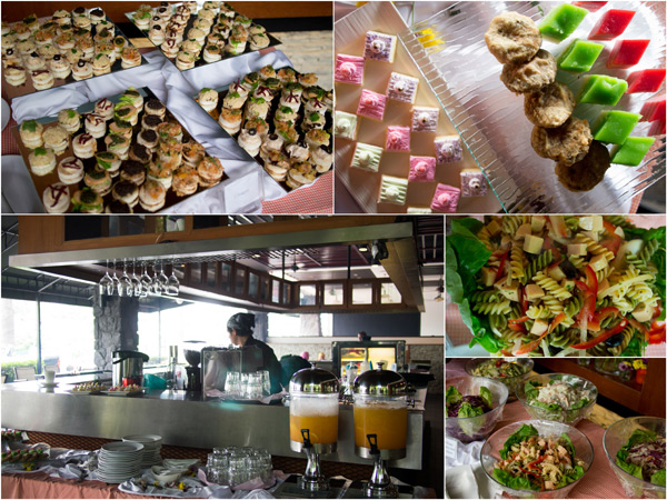 canapes, salad, kuih, salad, and drinks