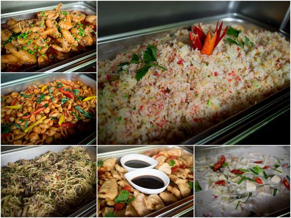 nasi hujan panas, ayam masak merah, spaghetti with mushroom, tempura, sayur campur masak lemak putih