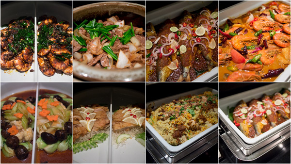 chicken, beef, seafood, lamb, vegetable, in Malay, Chinese, Indian, and Western style