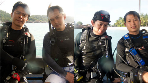 Terence, Horng, KY, Joe geared up for diving