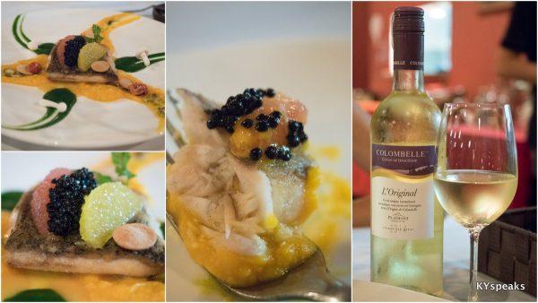 """Fillet de daurade en croute"", Colombelle Coeur de Gascogne wine"