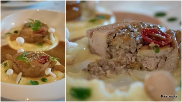 """Poulet façon cocotte"", or stuffed chicken with French mash potato and creamy mushroom"