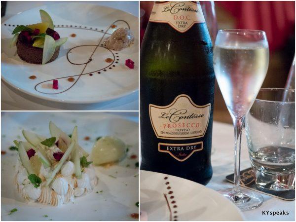 """""""Delice au chocolat et caramel"""", """"Tarte au citron meringue"""", Le Contesse Prosecco di Treviso Extra Dry"""