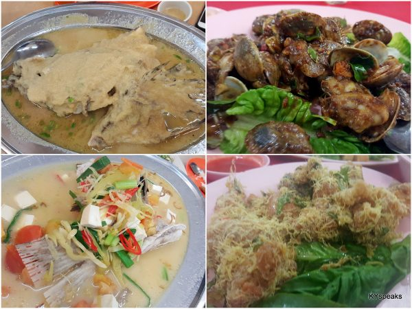 steamed fish with ginger, lala, steamed fish teow chew, mantis prawn butter style