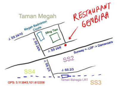 map to restaurant gembira