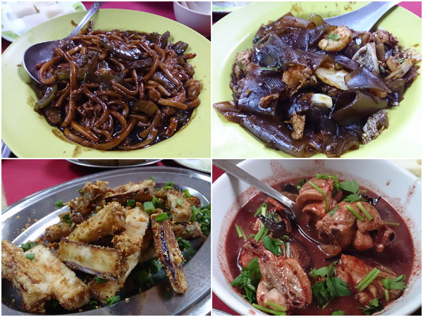 bitter gourd Hokkien mee, potato flour noodle, fried eggplant, rice wine chicken