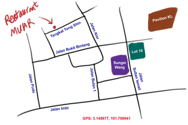 map to Restaurant Muar at Bukit Bintang