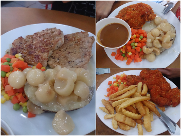 pork chop, deep fried chicken chop, fish and chips