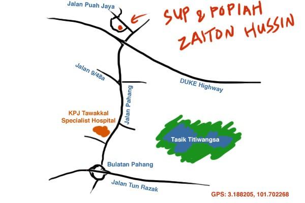 map to restoran sup & popiah Zaiton Hussin, Setapak
