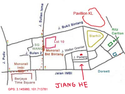 map to restaurant Jiang He at bukit bintang