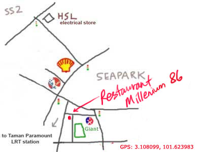 map to Restaurant Millenium 86 at Sea Park