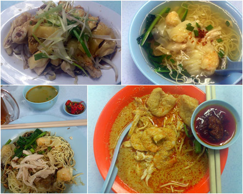 steamed chicken, soup wantan mee, dry wantan mee, curry mee