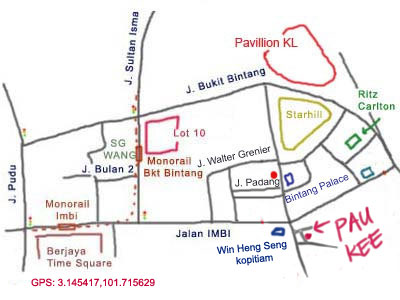 map to restaurant Pau Kee