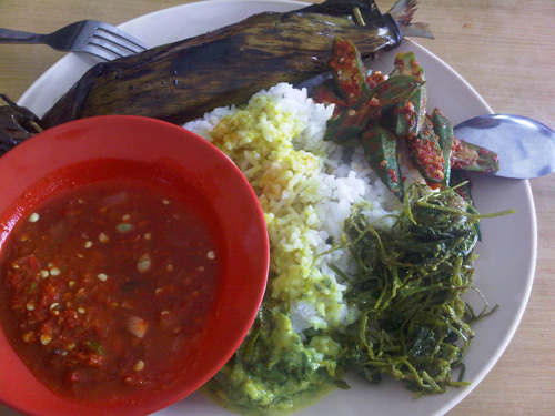 fish, santan laden vegetable (including fern), and sambal
