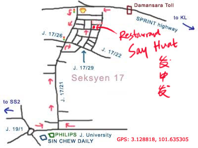 map to restaurant say huat, PJ seksyen 17