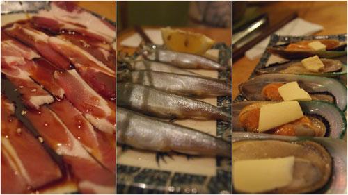 bacon, shishamo, mussels