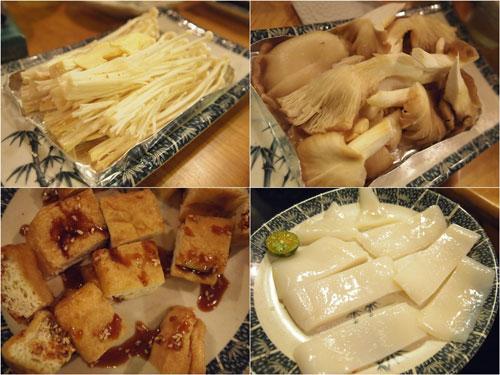 enoki mushroom, shitake mushroom, tofu, cuttle fish