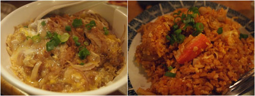 chicken katsudon, kimchi fried rice