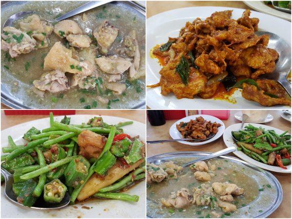 steamed kampung chicken, wild boar curry, four kingdom vege dish