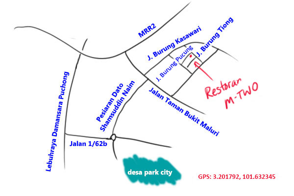 restoran M-Two taman bukit maluri map