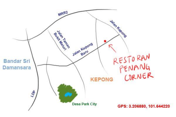 map to restoran penang corner, kepong