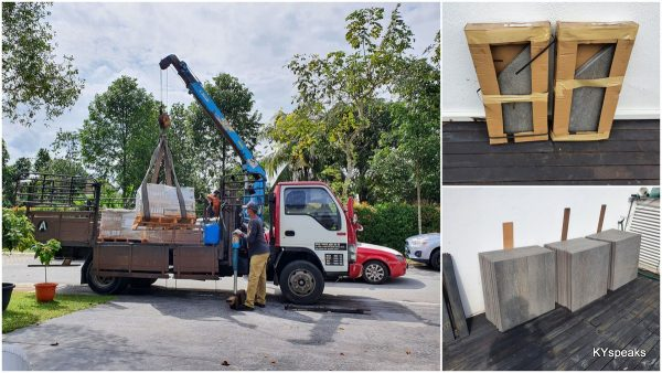 granite tiles delivery, with bullnose pieces for edges