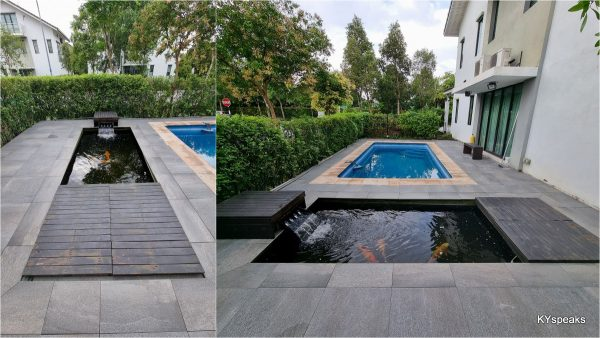 the finished product - 60 x 60 granite tiles by poolside