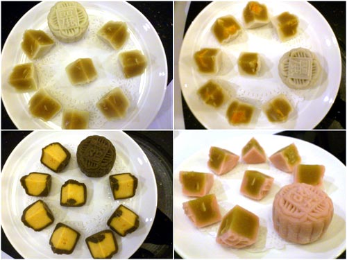 the glorious mini mooncakes from Ritz Carlton