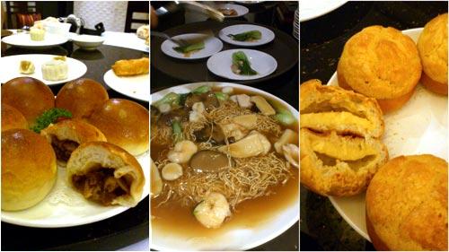 pork buns, seafood noodle, custard buns