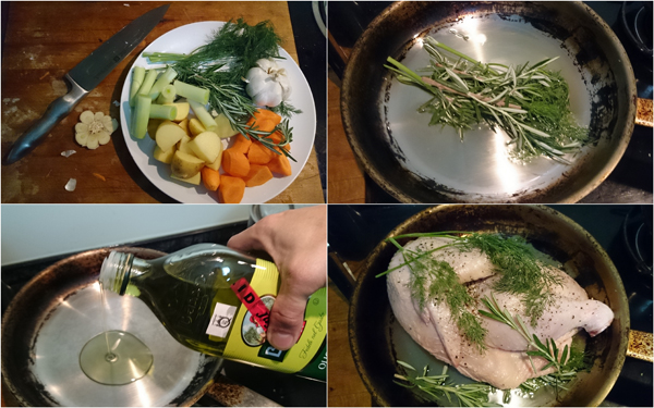 cut vege, arrange chicken, simple
