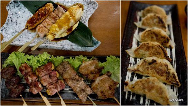 various kushiyaki (skewers) & gyoza