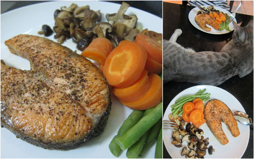 salmon steak with carrots, mushroom, and french beans