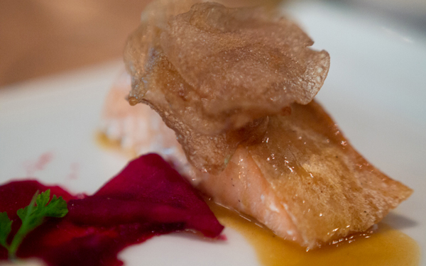 salmon mi-cuit with pickled beets, cauliflower mousseline