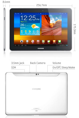 specifications of the Samsung Galaxy Tab 10.1