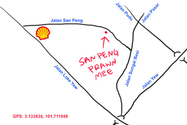 San Peng Prawn Mee map
