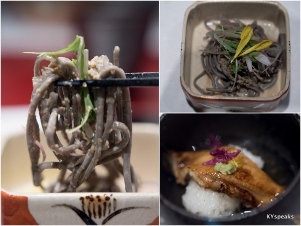 Echizen soba salad, grilled sea eel with steamed Yoshino-kuzu ankake