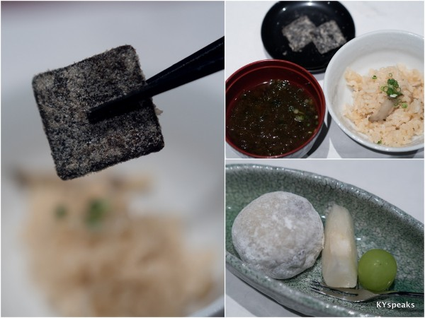 miso soup, seaweed pickle, salted bean rice cake dessert