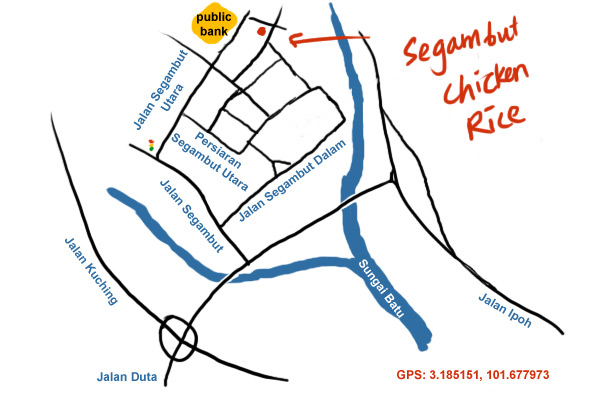 map to segambut chicken rice